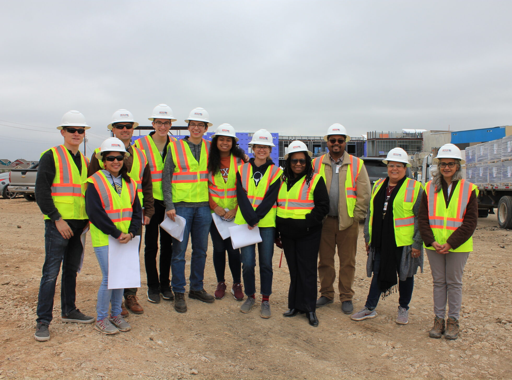 Austin Green building Interns on site at AISD's new Blazier Relief School building