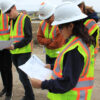green building interns touring blazier intermediate school